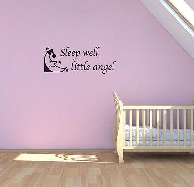Sleep Well Little Angel Moon Star Wall Art Decor House Decoration Vinyl Sticker