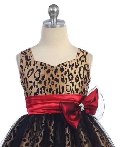 10 Size 8 6 Leopard Print Floral Girl Kids Party Dress Champagne 4