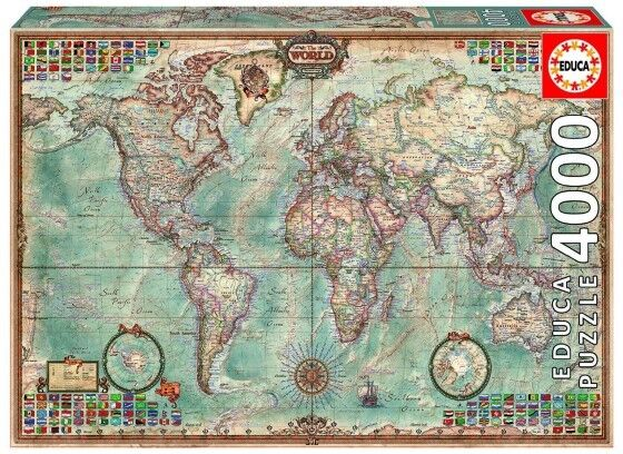 4,000 Piece Puzzle - The World Map, Superior Quality, Tight Fitting, Educational