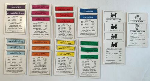 Replacement Parts 1995 MONOPOLY Parker Brothers