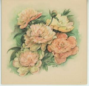 Vintage pink white peonies peony botanical flowers lithograph card image is loading vintage pink white peonies peony botanical flowers lithograph mightylinksfo