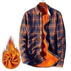 Hombre-Informal-Camisas-de-Manga-Larga-de-Abrigo-a-Cuadros-de-Lana-Gruesa-Forro-De-Franela-Para