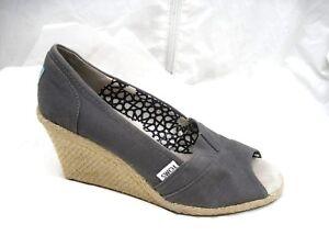 7847858fbb7 Toms grey peep toe espadrilles wedges womens ladies slip on sandals ...