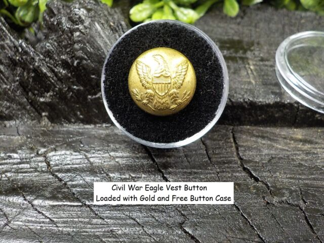 Old Rare Vintage Antique Civil War Relic Eagle Button Loaded with Gold Free Case