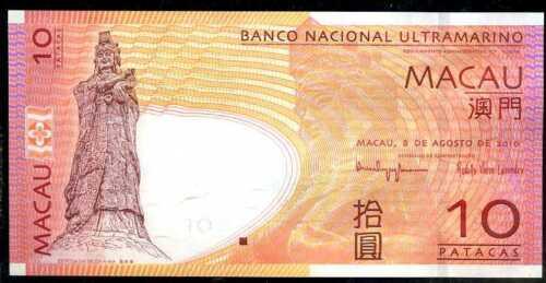 MACAO  MACAU   10  PATACAS  2010  Prefix BD P 80b   Uncirculated Banknotes