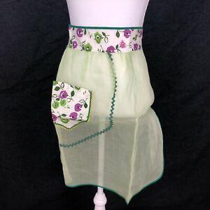Vintage Organdy Half Waist Apron Sheer Fashion Green Purple Floral Pocket VTG