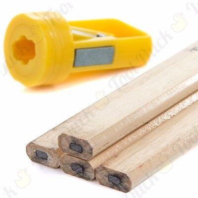 10Pcs Carpenters Pencils /& Sharpener Set Bulider Wood Work Marking Durable