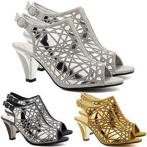 Copieux Nouveau Haut Mi Talon Haut Strass Sandales Bottes Femmes Robe De Mariage Chaussures 3-9-afficher Le Titre D'origine