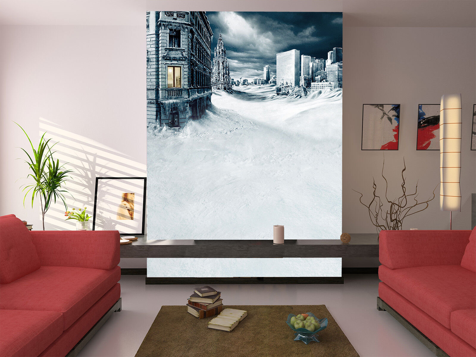 3D Snow City Dark Clouds Paper Wall Print Wall Decal Wall Deco Indoor Murals
