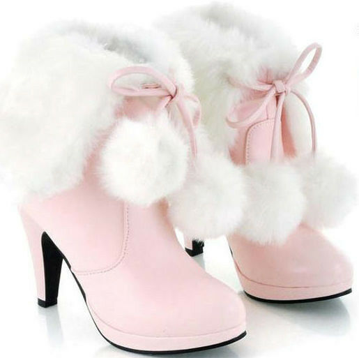 Hot sell Women's Mid Calf High Heel Lace-up Fur PU Warm Winter Ankle Boots shoes