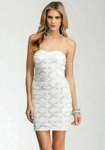 NEW bebe Weiß sequin lace strapless bustier cross back mesh top dress S Small