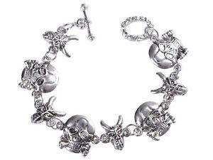 18670ecd2 Punk Silver Tone Clear Crystal Rhines Skull Head Beaded Bracelet ...