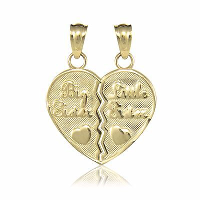Love Necklace Charm 10K Solid Yellow Gold Big Little Sister Half Heart Pendant