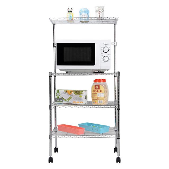3-Tier Microwave Oven Wheel Rack Stand Storage Cart Shelf Kitchen Organizer