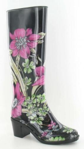 Ladies X1R177 Black Multi Floral Print Heeled Wellies
