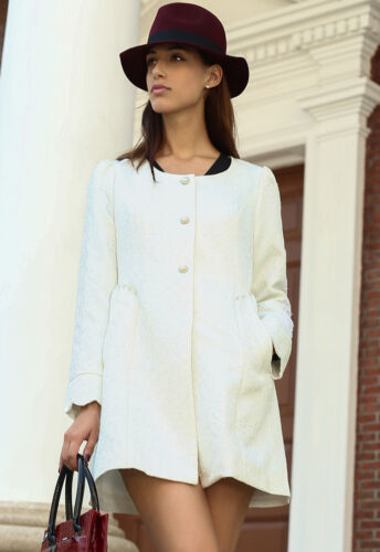 White Jacquard Floral Vine Beaded Long Sleeved Jacket Flared Korean Style S-XL