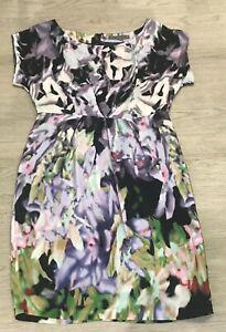 Stunning-MINT-VELVET-100-silk-black-green-patterned-short-pleated-dress-UK-10