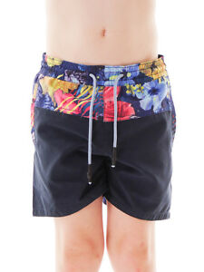 Brunotti-Short-Banador-Pantalones-de-verano-cobys-Blau-Floral-cordon-de-Ajuste