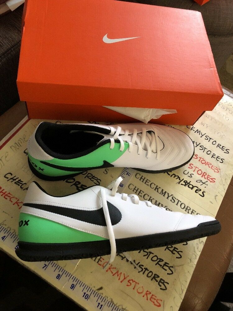 Nike TIEMPOX RIO III IC Mens White Black Green 819234 103 Athletic Soccer Shoes