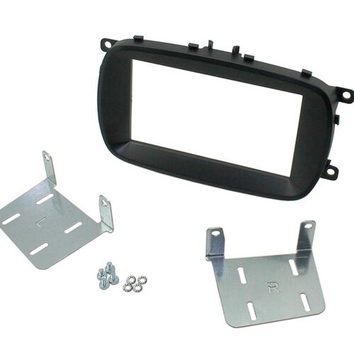 CT23FT22 FIAT 500X 2015 ONWARDS BLACK DOUBLE DIN FACIA ADAPTER PANEL PLATE