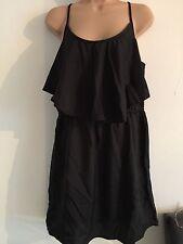 PRIMARK SUMMER DRESS BLACK SIZE 14 RUFFLE NEW
