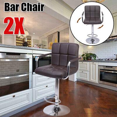 2PCS Bar Stool Barstool Tall Swivel Chair Home Dinning Room Furniture W// Armrest