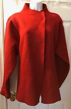 EILEEN FISHER Red Boiled 100% Wool Jacket Coat Sweater Snap Close Sz L
