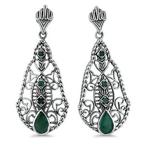 Image Is Loading Genuine Emerald Antique Design 925 Sterling Silver Filigree