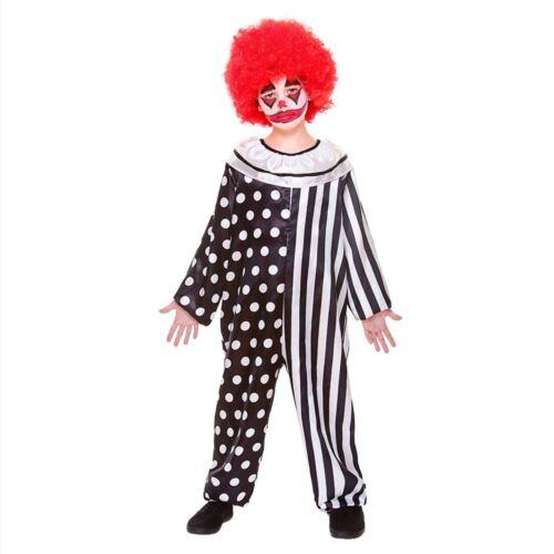 Child CREEPY CLOWN Halloween Jumpsuit Horror Klown Circus Fancy Dress Costume