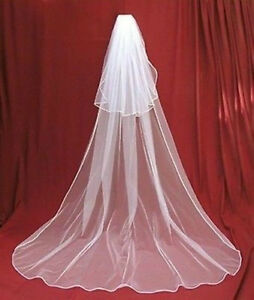 New-2-layers-white-Wedding-Bridal-veil-Cathedral-Length-with-comb