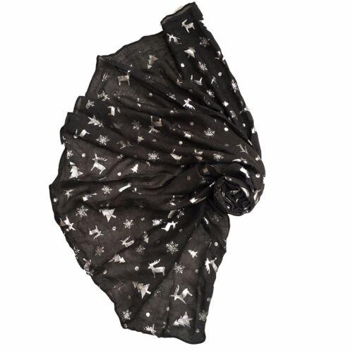 Women/'s Scarves Ladies glitter Scarf Metallic SnowFlake  Xmas Deer Girl Snood
