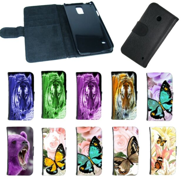 Book Style Tasche für Handys Hülle Case Cover Etui Tiger Schmetterling Motiv