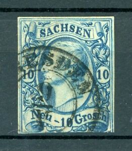 Altdeutschland-Sachsen-MiNr-13-b-gestempelt-geprueft-Engel-U906
