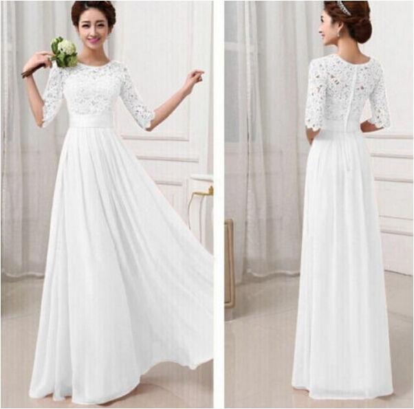 New Women's Lace Chiffon Long Maxi Evening Cocktail Fashion Party Wedding Dress