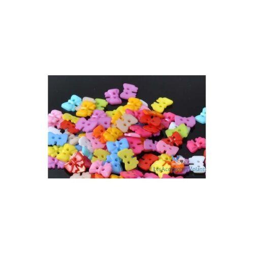 lot de 20 bouton noeud de papillon 10 x13 mm 2 trou scrapbooking couleurs mixte