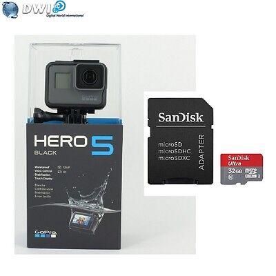 NUOVO GOPRO HD HERO 5 HERO5 BLACK EDITION ACTION CAMERA + 32GB MICRO SD CARD