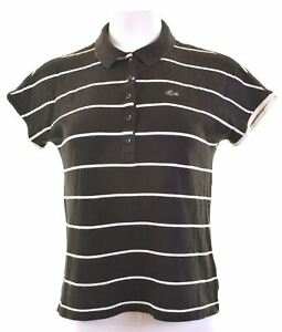 LACOSTE-Womens-Polo-Shirt-EU-44-XL-Black-Striped-Cotton-Slim-CF15