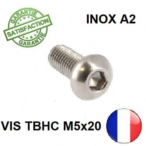 BTR INOX A2 M5 x 20 TETE BOMBEE ISO 7380//1 20 VIS TBHC