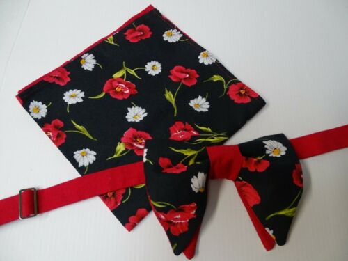 Handmade Bow tie /& Handkerchief Set Vintage style 70s Black//Red Floral