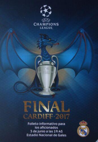 Real Madrid # spanisch Fan Leaflet UEFA CL Finale 3.6.2017 Juventus Turin