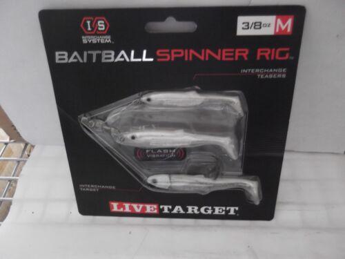 Live Target 3//8 OZ BaitBall Spinner Rig Pearl White// Silver