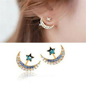 Fashion-Womens-Gold-Moon-Star-Earrings-Crystal-Rhinestone-Ear-Stud-Jewelry-Gift
