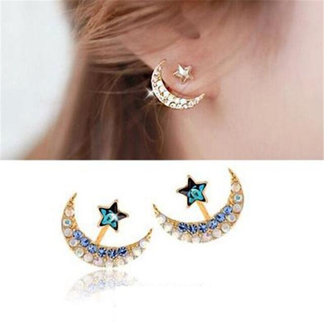 Fashion Womens Gold Moon Star Crystal Rhinestone Stud Earrings Party Jewelry New