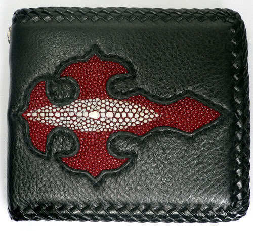 New Cross origine STINGRAY Peau Cuir Rouge Homme Motard Rock Punk Real Wallet