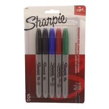 Sharpie Permanent Markers Fine Point Assorted Colors Pack Of 5 New