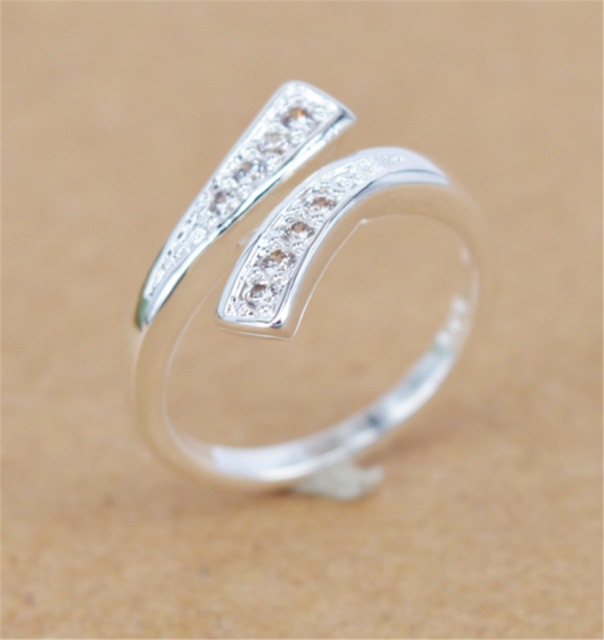 925 Silver Plated Rings Finger Band Adjustable Ring Women's Fashion Jewelry