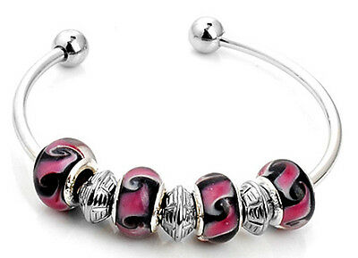 1pc nice handmade charm cuff bracelet fit European multicolor mix beads S-656