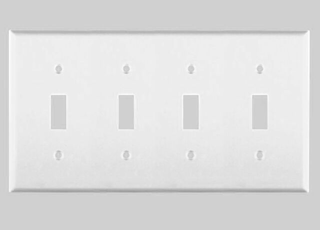 WHITE LIGHT SWITCH TOGGLE PLUG PLASTIC WALL COVER PLATE 1 2 3 4 GANG