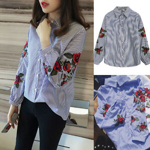 Fashion-Ladies-Stripes-Long-Sleeve-T-Shirt-Flower-Embroidered-Lapel-Tops-Blouse