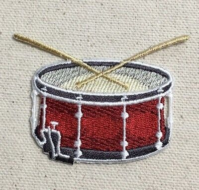 Iron on Drum Set Applique Patch Red Music Instrument Badge 2.5 White